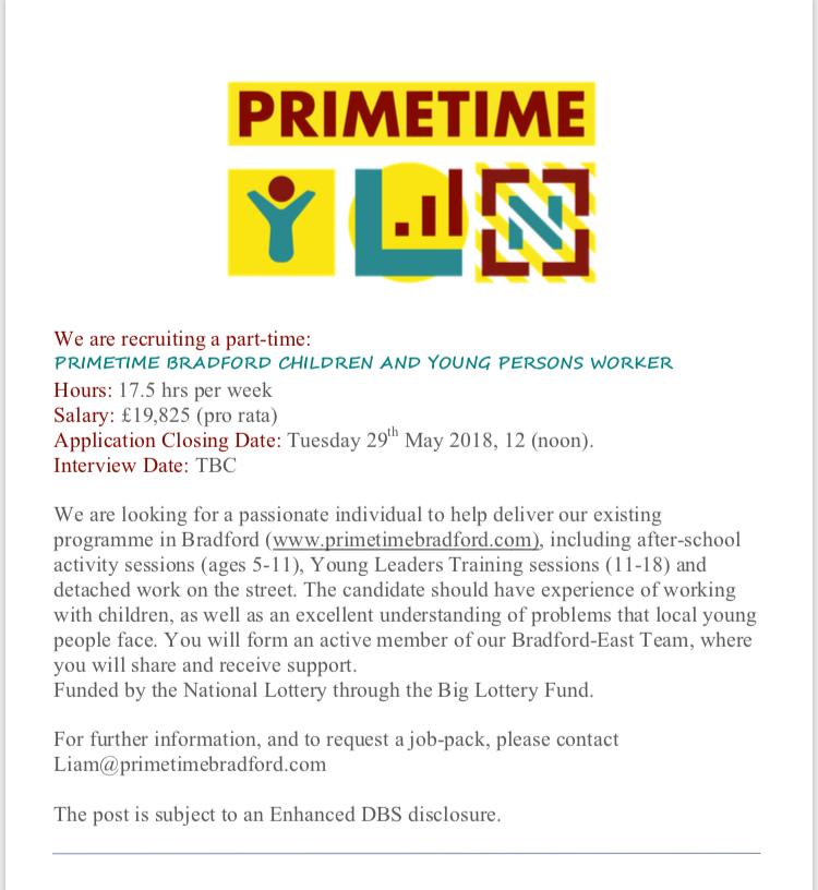 Job Advert – Primetime Children & Young People's Worker
